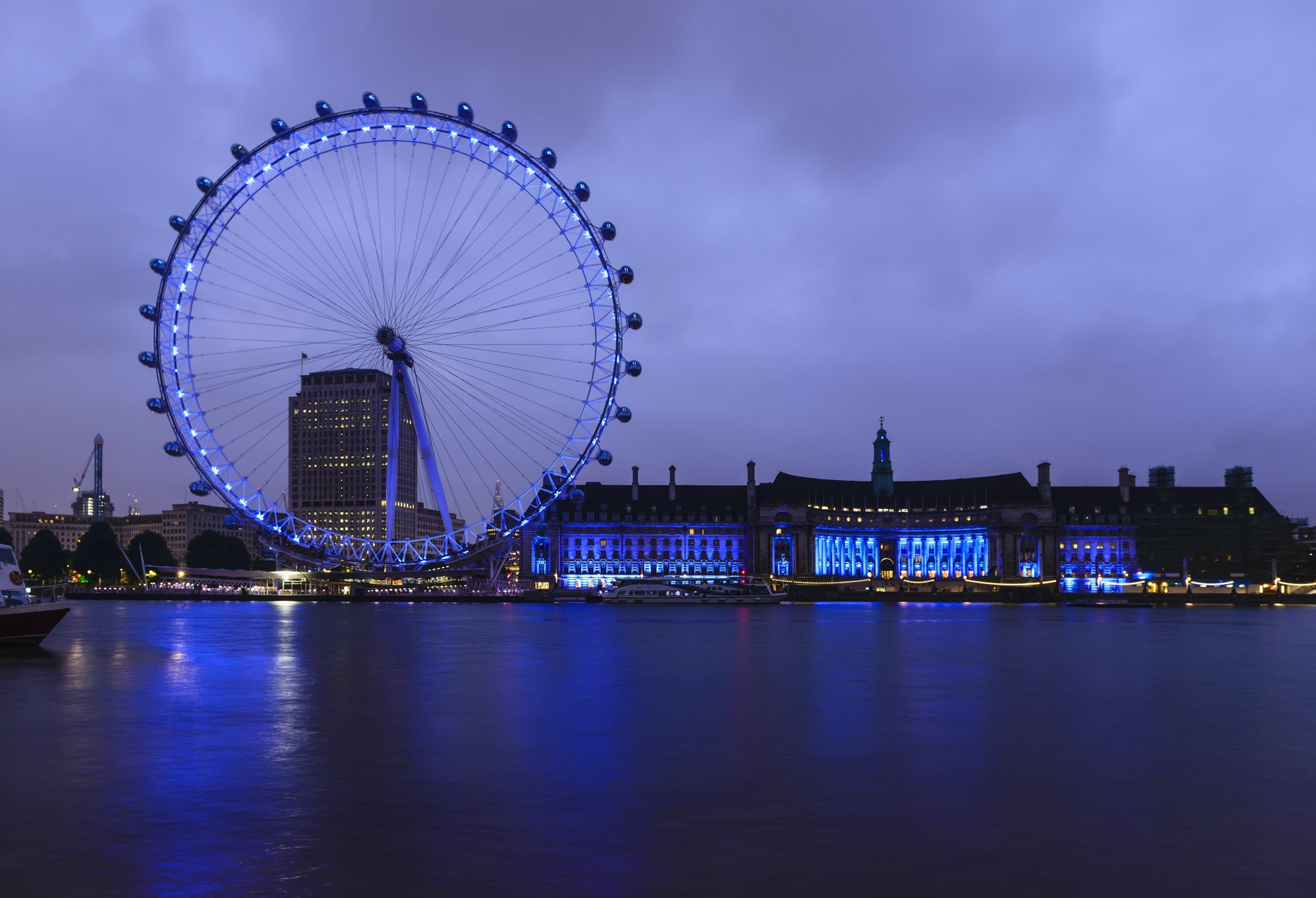54877,London Eye and waterfront lit up at night, London, United Kingdom