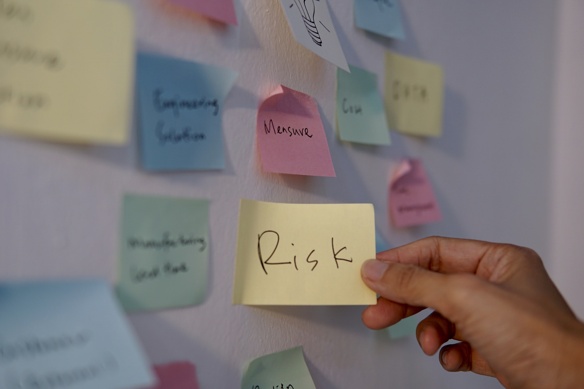 Brainstorming discussion in the office, sticky notes on the board, ideas, risk assessment